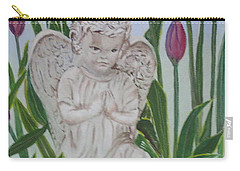 Carry-all Pouch featuring the painting Angel In The Garden by Sharon Schultz