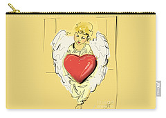 Angel Red Heart Carry-all Pouch by Go Van Kampen