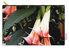 Carry-all Pouch featuring the photograph Pink Angel Trumpets  by James C Thomas