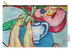 Carry-all Pouch featuring the painting Angel's Trumpet Flowers And A Ukulele by Xueling Zou