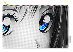 Anime Girl Eyes 2 Black And White Blue Eyes Carry-all Pouch