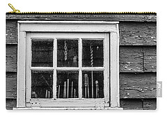 Carry-all Pouch featuring the photograph Antique Carpenter's Tools In Window by Gary Slawsky