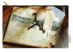 Carry-all Pouch featuring the photograph Antique Keys On Newspaper by Susan Savad