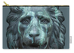 Antique Lion Face In Blue Carry-all Pouch by Jane McIlroy