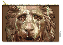 Antique Lion Face In Brown Carry-all Pouch by Jane McIlroy