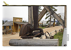 Carry-all Pouch featuring the photograph Antique Table Saw Tool Wood Cutting Machine by Paul Fearn
