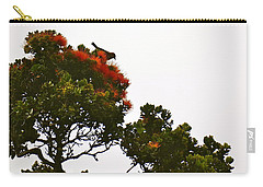 Carry-all Pouch featuring the photograph Apapane Atop An Orange Ohia Lehua Tree  by Lehua Pekelo-Stearns