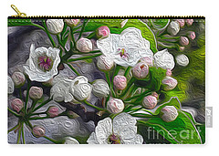 Carry-all Pouch featuring the photograph Apple Blossoms In Oil by Nina Silver