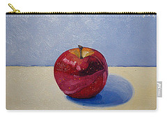 Apple - White And Blue. Carry-all Pouch by Katherine Miller