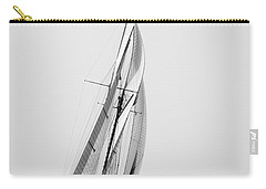 A Tall Ship In Mediterranean Water Approaching To Lighthouse Of Isla Del Aire - Menorca Carry-all Pouch by Pedro Cardona