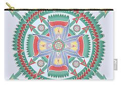 Aqua And Melon Totem Mandala Carry-all Pouch