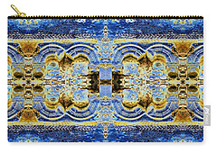 Carry-all Pouch featuring the digital art Arches In Blue And Gold by Stephanie Grant