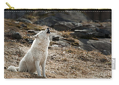 Carry-all Pouch featuring the photograph Arctic Wolf Howling by Wolves Only