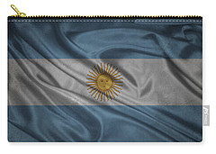 Argentinian Flag Waving On Canvas Carry-all Pouch by Eti Reid