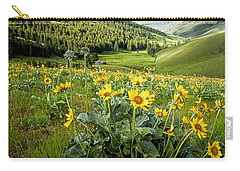 Carry-all Pouch featuring the photograph Arrow Leaf Balsam Root by Jack Bell