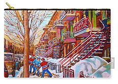 Art Of Montreal Staircases In Winter Street Hockey Game City Streetscenes By Carole Spandau Carry-all Pouch