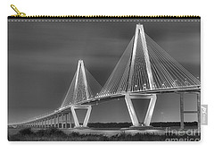 Arthur Ravenel Jr. Bridge In Black And White Carry-all Pouch by Adam Jewell