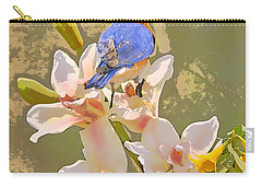 Bluebird On Orchids Artistic Photo Carry-all Pouch by Luana K Perez