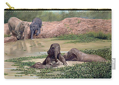Asian Elephants - In Support Of Boon Lott's Elephant Sanctuary Carry-all Pouch by Rachel Stribbling