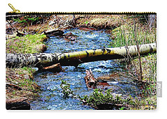 Carry-all Pouch featuring the photograph Aspen Crossing Mountain Stream by Barbara Chichester