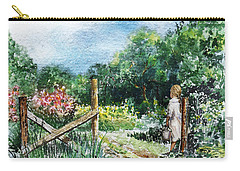 Carry-all Pouch featuring the painting At The Gate Summer Landscape by Irina Sztukowski