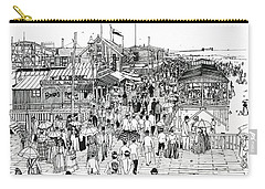 Carry-all Pouch featuring the drawing Atlantic City Boardwalk 1890 by Ira Shander