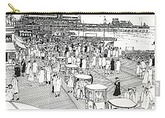 Carry-all Pouch featuring the drawing Atlantic City Boardwalk 1940 by Ira Shander