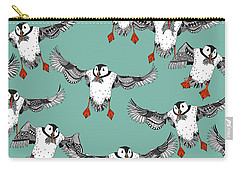 Atlantic Puffins Mint Carry-all Pouch by Sharon Turner