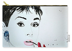 Carry-all Pouch featuring the painting Audrey Hepburn - Original by Ismeta Gruenwald