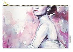 Audrey Hepburn Purple Watercolor Portrait Carry-all Pouch