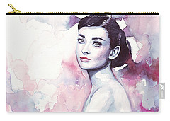 Audrey Hepburn Purple Watercolor Portrait Carry-all Pouch by Olga Shvartsur