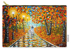 Carry-all Pouch featuring the painting Autumn Beauty Original Palette Knife Painting by Georgeta  Blanaru