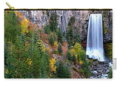 Carry-all Pouch featuring the photograph Autumn Colors Surround Tumalo Falls by Kevin Desrosiers
