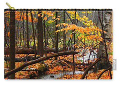 Carry-all Pouch featuring the photograph Autumn Creek In The Rain by Rodney Lee Williams