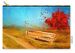 Autumn Farm- Autumn Impressionism Oil Palette Knife Painting Carry-all Pouch by Lourry Legarde