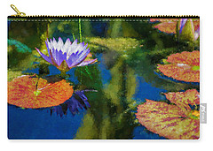 Autumn Lily Pad Impressions Carry-all Pouch by Georgia Mizuleva