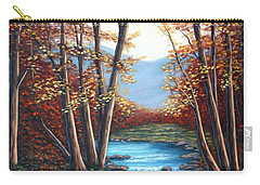 Carry-all Pouch featuring the painting Autumn Mountain Stream  by Fran Brooks