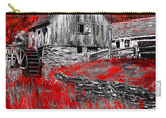 Autumn Promise- Red And Gray Art Carry-all Pouch by Lourry Legarde