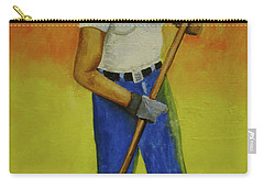 Carry-all Pouch featuring the painting Autumn Raking by Thomas J Herring