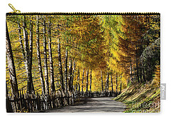 Winding Road Through The Autumn Trees Carry-all Pouch by IPics Photography