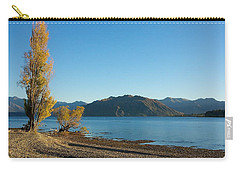 Carry-all Pouch featuring the photograph Autumn Trees At Lake Wanaka by Stuart Litoff