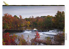 Carry-all Pouch featuring the photograph Refreshing Waterfalls Autumn Trees On The Stones River Tennessee by Jerry Cowart