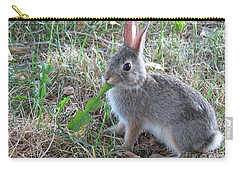 Baby Bunny Eating Dandelion #01 Carry-all Pouch