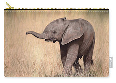 Elephant Calf Painting Carry-all Pouch by Rachel Stribbling