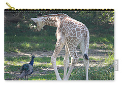 Baby Giraffe And Peacock Out For A Walk Carry-all Pouch by John Telfer