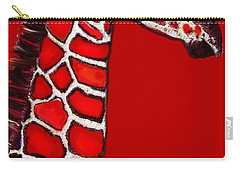 Baby Giraffe In Red Black And White Carry-all Pouch
