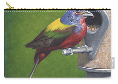 Carry-all Pouch featuring the painting Backyard Bunting by Dee Dee  Whittle