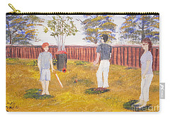 Carry-all Pouch featuring the painting Backyard Cricket Under The Hot Australian Sun by Pamela  Meredith