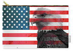 Bald Eagle American Flag Carry-all Pouch by Dan Sproul