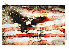 Carry-all Pouch featuring the photograph Bald Eagle Bursting Thru Flag by Eleanor Abramson